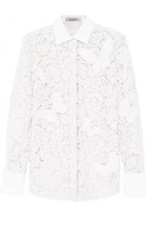 Кружевная приталенная блуза Valentino