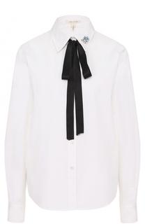 Хлопковая блуза с воротником аскот и брошью Marc Jacobs