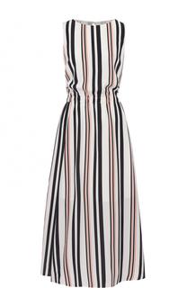 Приталенное платье в полоску без рукавов HUGO