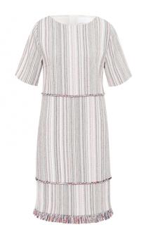 Платье прямого кроя с бахромой HUGO