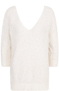 Пуловер фактурной вязки с V-образным вырезом Tegin