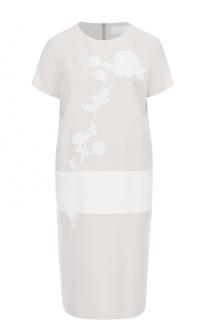 Платье прямого кроя с вышивкой бисером HUGO