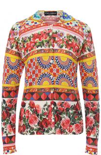 Шелковый кардиган с ярким принтом Dolce & Gabbana