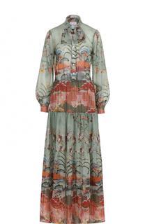 Платье-рубашка с цветочным принтом и воротником аскот Stella Jean