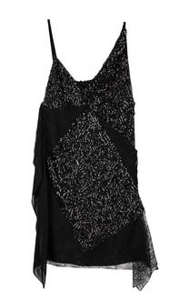 Мини-платье асимметричного кроя с пайетками Lanvin