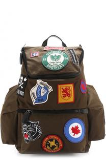 Текстильный рюкзак с контрастными нашивками Dsquared2