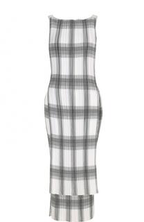 Приталенное платье-миди в клетку Helmut Lang