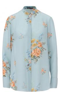 Шелковая блуза прямого кроя с цветочным принтом Alexander McQueen