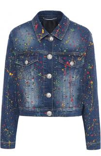 Джинсовая куртка с контрастной отделкой Philipp Plein