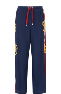 Шелковые широкие брюки с лампасами REDVALENTINO