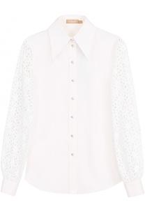 Приталенная блуза с кружевными рукавами Michael Kors