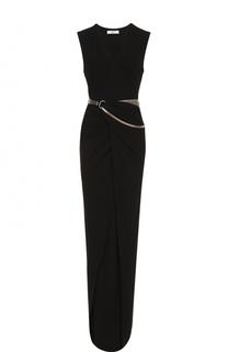 Платье-макси с поясом и высоким разрезом Lanvin