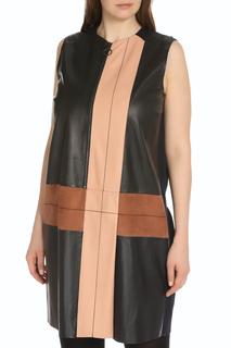 Платье на молнии без рукавов с вставками из кожи Max Mara