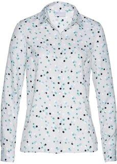 Блузка (серебристый матовый/синий с рисунком) Bonprix