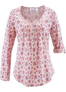 Хлопчатобумажная футболка с длинным рукавом (жемчужно-розовый в цветочек) Bonprix