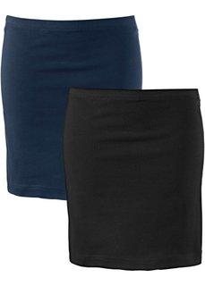 Мини-юбка стретч (2 шт.) (темно-синий + черный) Bonprix
