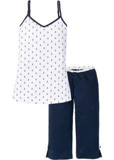 Пижама-капри (темно-синий с рисунком) Bonprix
