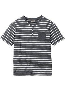 Полосатая футболка Regular Fit (шиферно-серый/цвет белой шерсти в полоску) Bonprix
