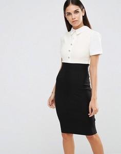 Платье-футляр с пуговицами на топе Vesper - Черный