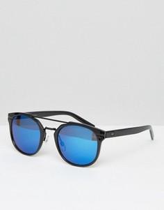 Круглые солнцезащитные очки с синими стеклами Jack & Jones - Черный