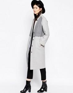 Пальто-кокон со вставками ASOS - Серый