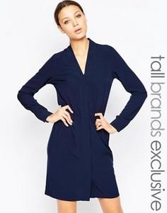 Платье с длинными рукавами на пуговицах Y.A.S Tall - Темно-синий