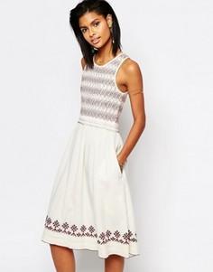 Платье миди с вышивкой Tularosa Tamarack - Кремовый