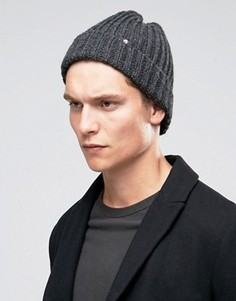 Серая шерстяная шапка-бини в рубчик PS By Paul Smith - Серый