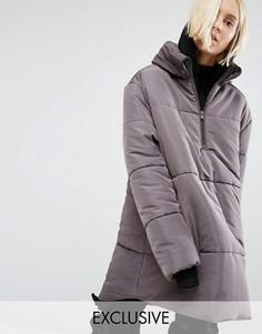 Oversize-куртка через голову с короткой молнией Puffa - Серый