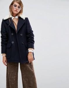Пальто со съемным воротником из овечьей шерсти Gloverall Reefer - Темно-синий