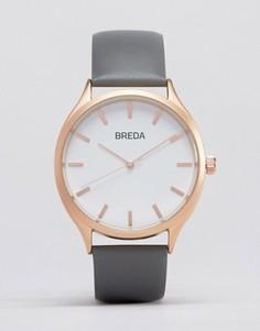 Часы с серым кожаным ремешком и золотистым циферблатом Breda Meter - Серый