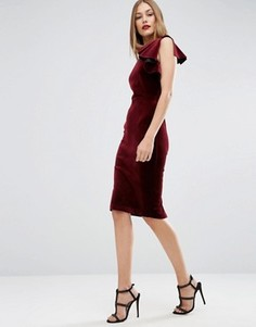Бархатное платье миди на одно плечо с рюшами ASOS PREMIUM - Красный
