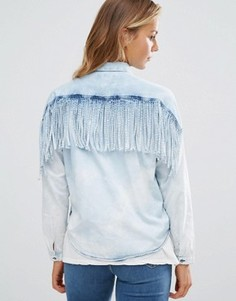 Джинсовая рубашка с бахромой на спине Maison Scotch - Синий