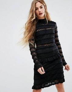 Кружевное платье с рюшами First & I - Черный