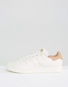 Белые кроссовки со светло-коричневой отделкой adidas Originals Stan Smith - Кремовый