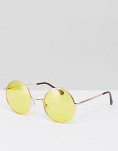 Солнцезащитные очки в круглой металлической оправе с желтыми линзами ASOS - Желтый