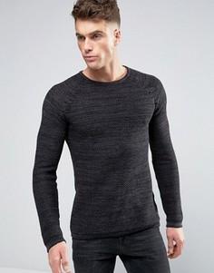 Хлопковый свитер с вафельной текстурой Blend - Черный