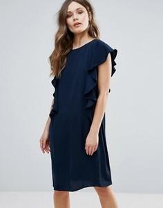 Цельнокройное платье с оборками по бокам B.Young - Черный