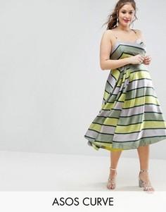 Платье миди для выпускного в полоску ASOS CURVE SALON - Мульти