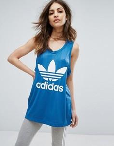 Топ с логотипом-трилистником adidas Originals - Синий