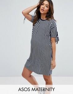Платье-футболка в полоску с бантами на рукавах ASOS Maternity - Мульти