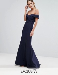 Платье-бандо макси с юбкой годе Jarlo - Темно-синий