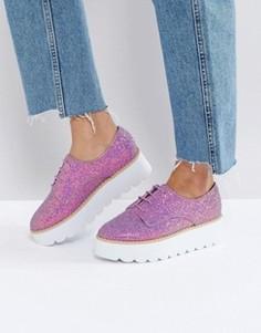 Туфли на массивной плоской подошве с блестками ASOS MISFIT - Розовый
