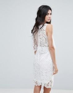 Платье миди с открытой спиной и кружевной отделкой Amy Lynn - Белый