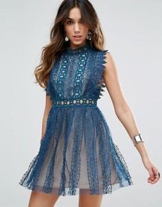 Вечернее платье с кружевной отделкой Free People Forever - Темно-синий