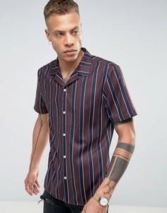 Рубашка в полоску классического кроя с отложным воротником ASOS - Красный