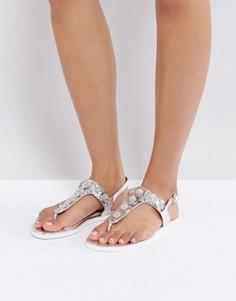 Серебристые сандалии с отделкой на ремешке Lost Ink - Серебряный