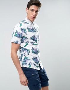 Рубашка с цветочным принтом и короткими рукавами Produkt - Белый