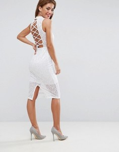 Кружевное платье миди с воротником-стойкой и шнуровкой на спине ASOS - Белый