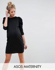 Платье мини из крепа с пышными рукавами ASOS Maternity - Черный